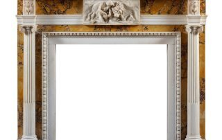 Elements of Regency Fireplaces may include, an attenuated reeded decoration with a fluted face along the jambs (legs), corner tablets contributing lightness and symmetrical lines in the framing of the firebox, accented rosettes at the opposite ends of the mantel base, and center carved customizable tablets.